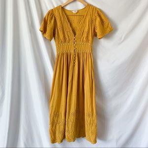 Loveriche Yellow Eyelet Lace Button Midi Dress S